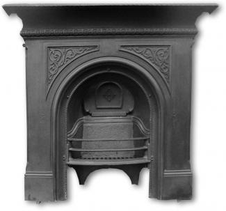 Original Arched Cast Iron Late Victorian Combination Fireplace