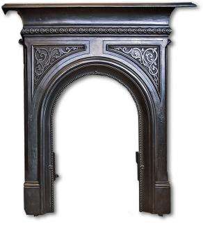 Late Victorian cast iron bedroom fireplace