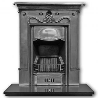 The Tulip Cast Iron Combination Fireplace - full polish